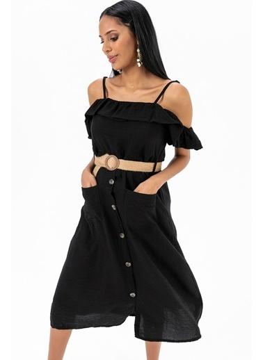 Emjey Askılı Yaka Farbalı Cepli Elbise Siyah